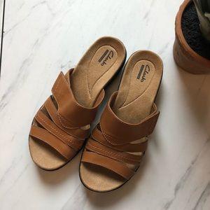 CLARKS-Cognac Brown Boho Strappy Slide Sandals- 7